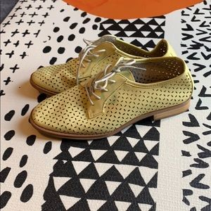 Yellow perforated Saddle Shoes